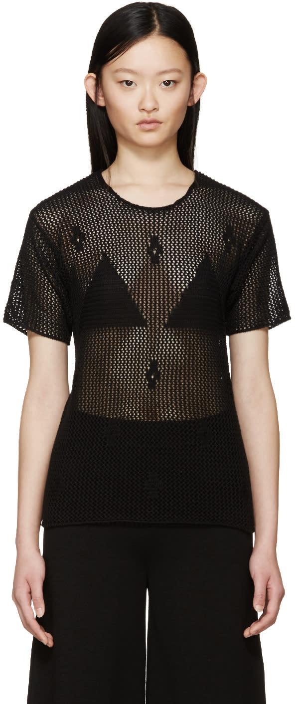 Mm6 Maison Margiela Black Crochet Sweater