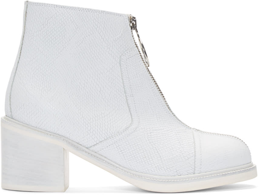 Mm6 Maison Margiela White Leather Zip-front Ankle Boots