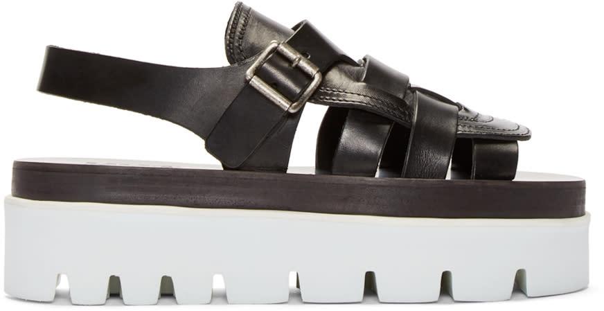Mm6 Maison Margiela Black Leather Platform Sandals