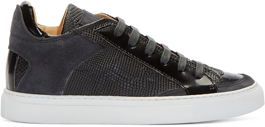Mm6 Maison Margiela Black Leather and Suede Low-top Sneakers