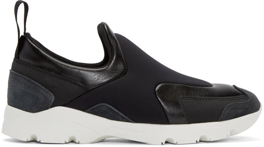 Mm6 Maison Margiela Black Leather Slip-on Sneakers