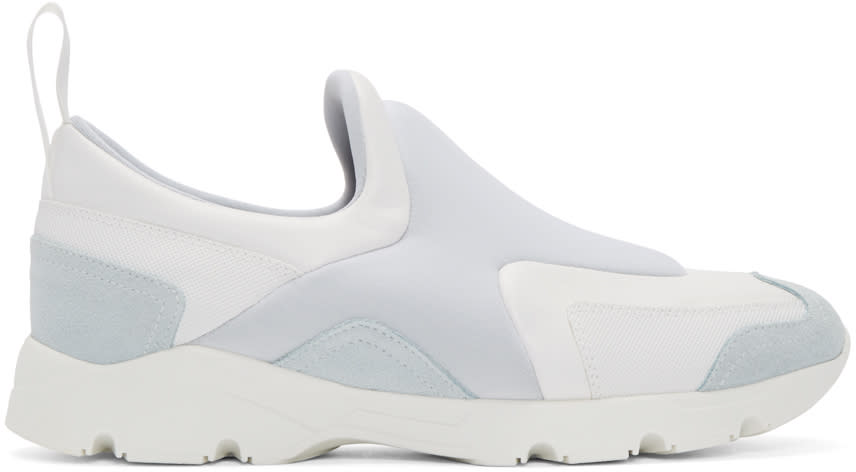 Mm6 Maison Margiela White and Grey Slip-on Sneakers