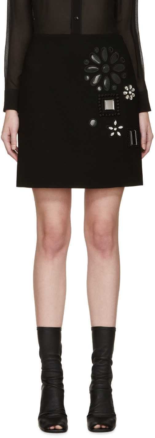 Marc Jacobs Black Wool Embellished Miniskirt
