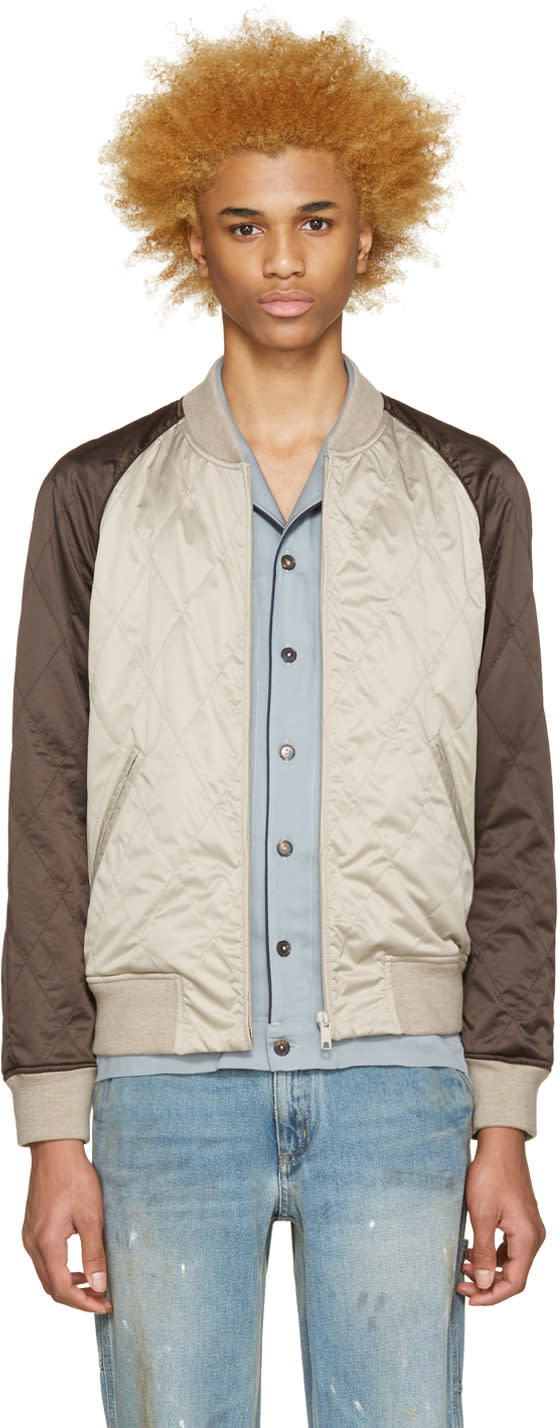 Image of Marc Jacobs Beige and Brown Bomber Jacket
