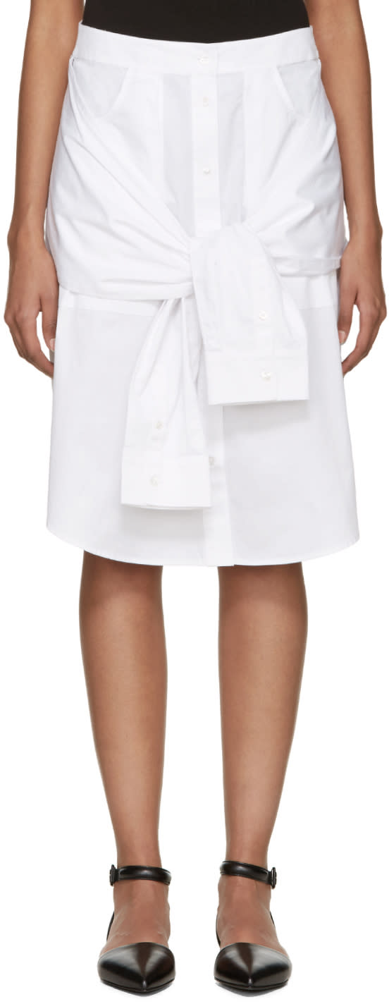 T By Alexander Wang White Poplin Shirttail Skirt