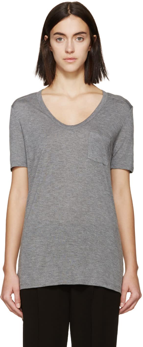 T By Alexander Wang Grey Classic Pocket T-shirt