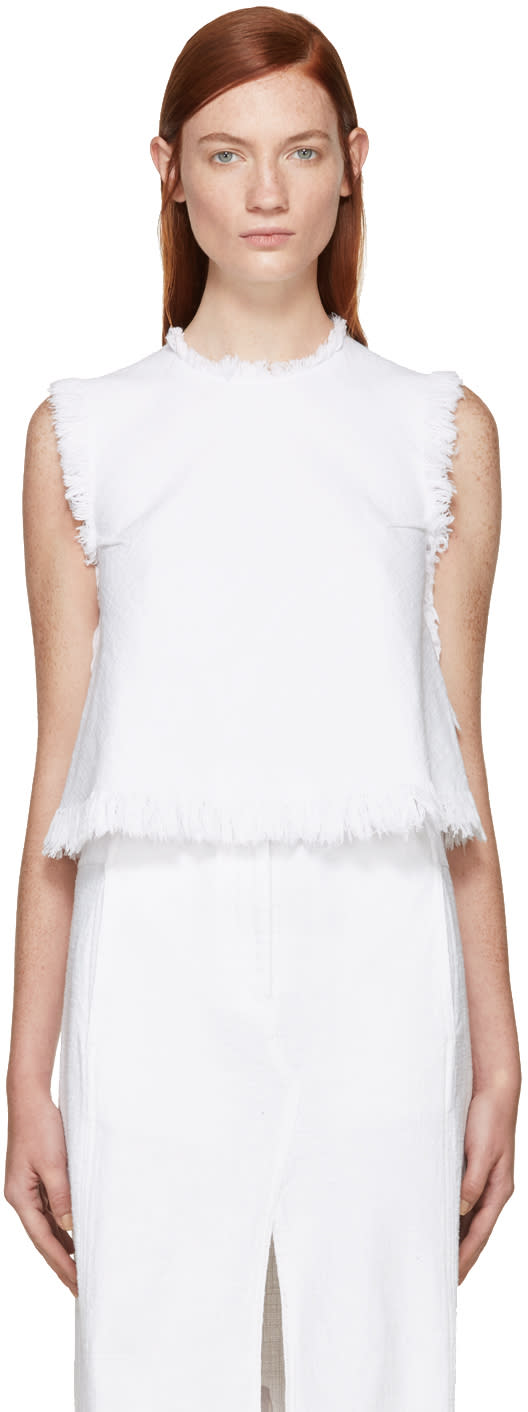 T By Alexander Wang White Frayed Burlap Top