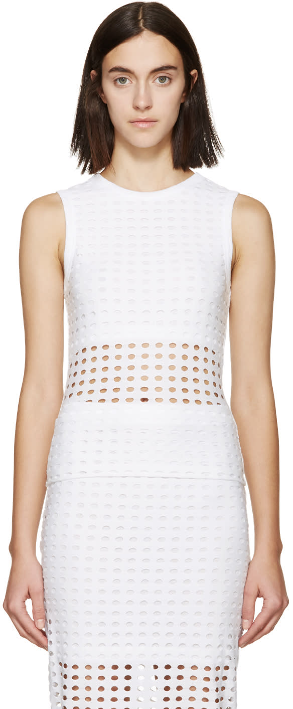 T By Alexander Wang White Laser-cut Tank Top