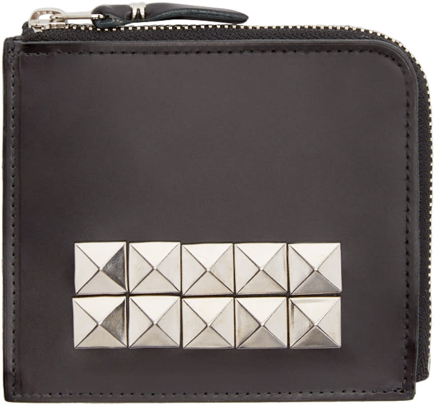 Comme Des Garçons Wallets Black Leather Studded Wallet