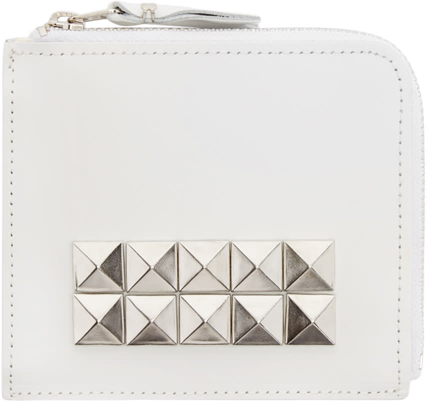 Comme Des Garçons Wallets White Leather Studded Wallet