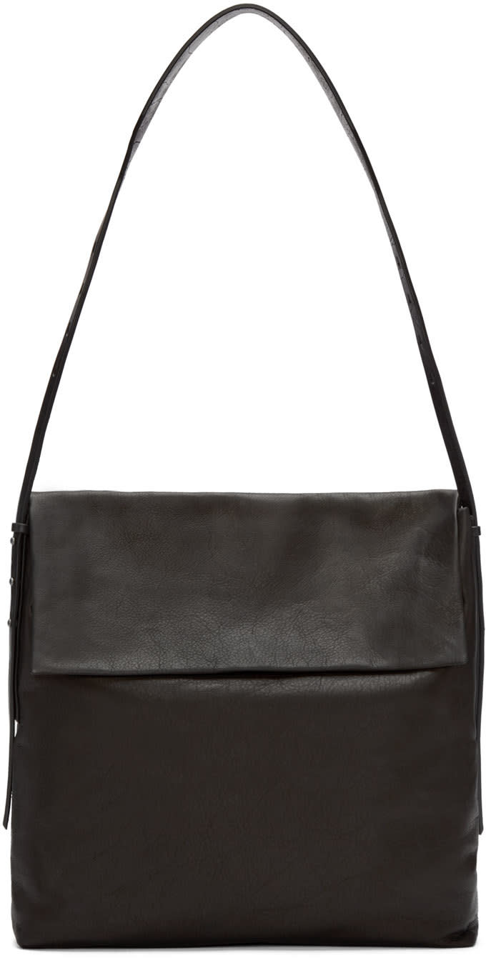 Rick Owens Black Leather Small Hobo Bag at SSENSE