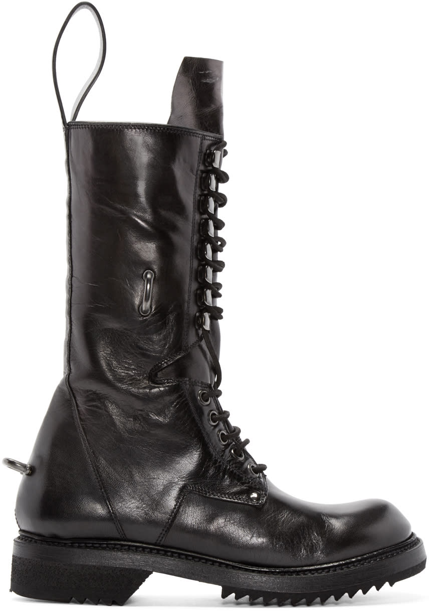 Rick Owens Black Leather Lace-up Boots