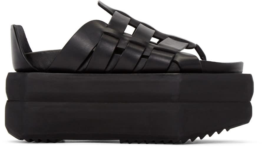 Rick Owens Black Leather Gladiator Sandals