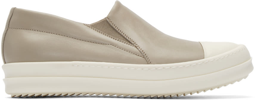 Rick Owens Taupe Leather Boat Sneakers