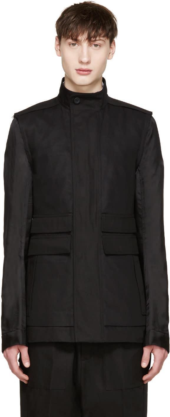 Rick Owens Black Contrast Sleeve Jacket
