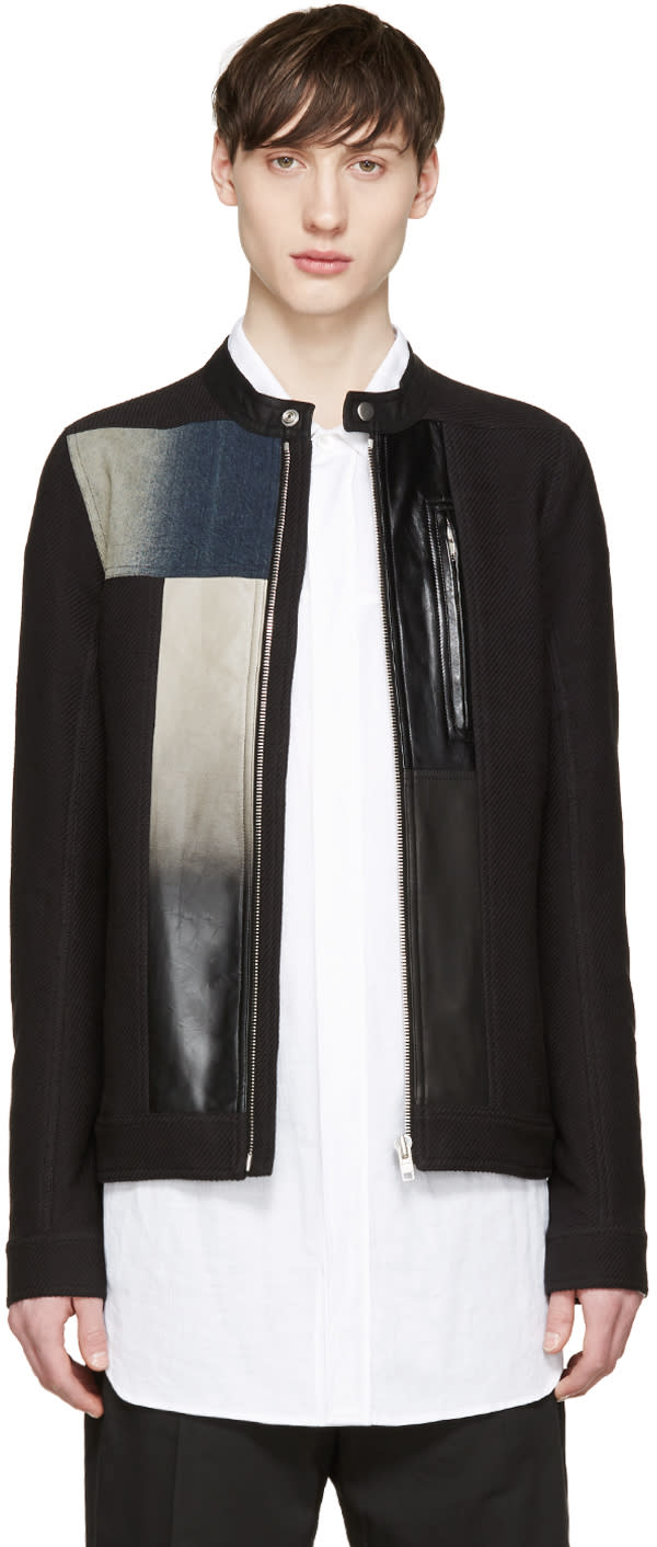 Rick Owens Black Patchwork Windbreaker Jacket