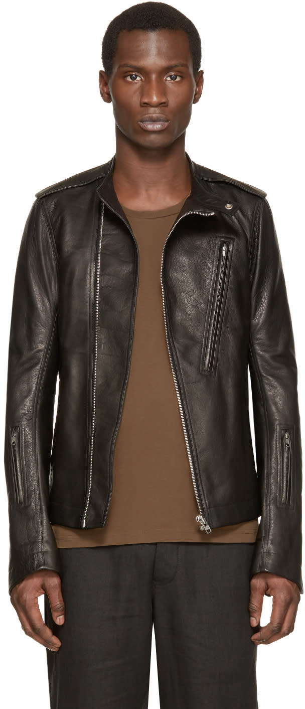 Rick Owens Black Leather Cyclops Biker Jacket