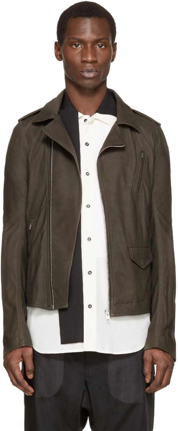 Rick Owens Grey Leather Stooges Biker Jacket