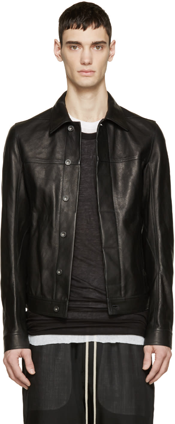 Rick Owens Black Grained Leather Worker Jacket
