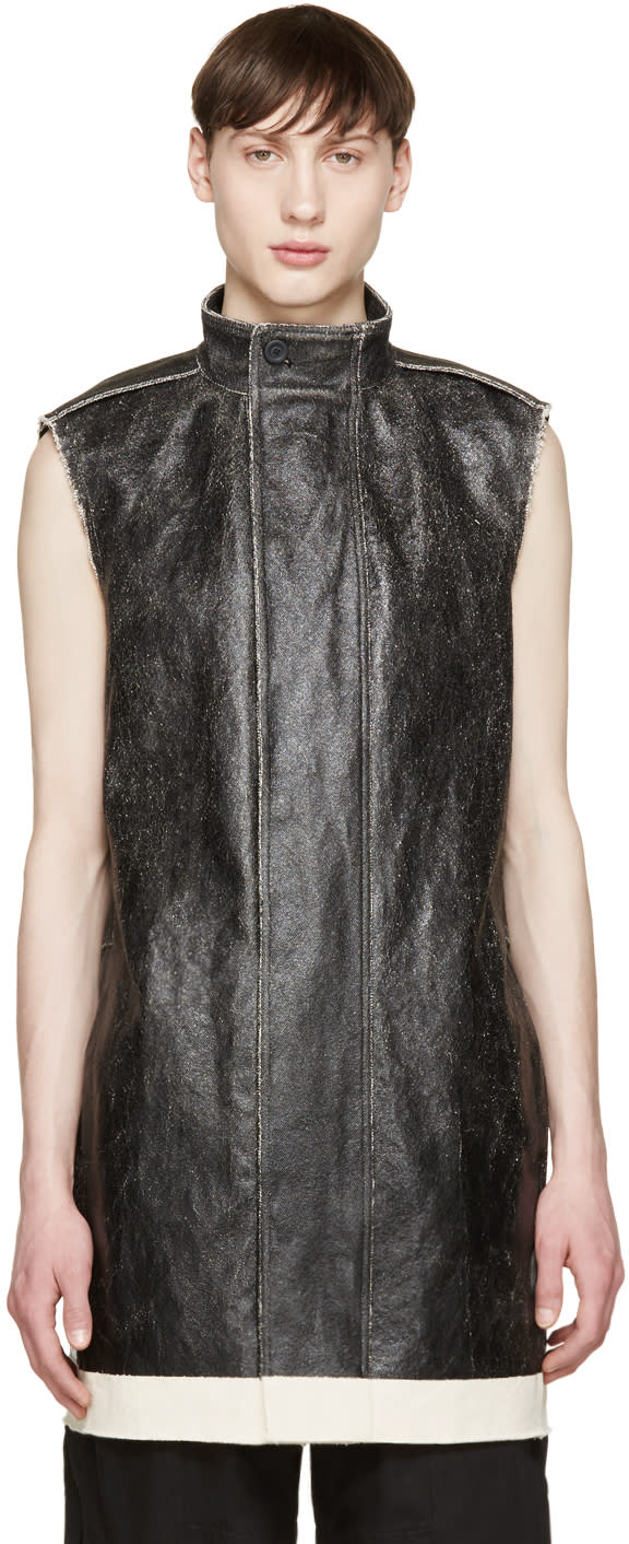 Rick Owens Black Coated Canvas Vest