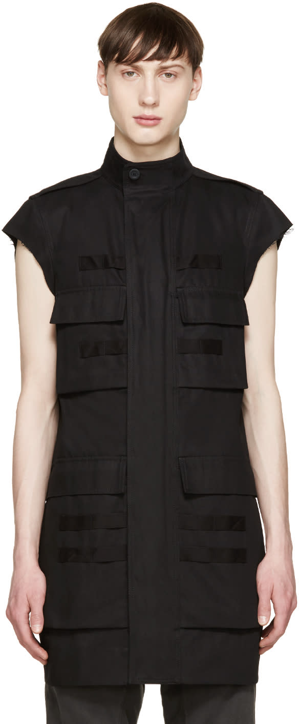 Rick Owens Black Canvas Pocket Vest