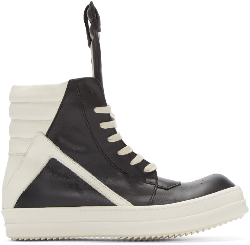 Rick Owens Black and White Geobasket High-top Sneakers