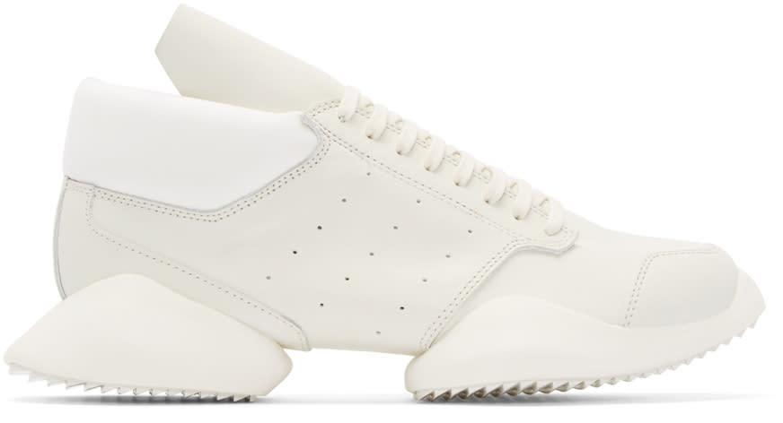 Rick Owens White Leather Adidas By Rick Owens Sneakers