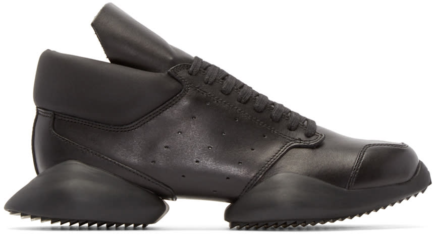 Rick Owens Black Leather Adidas By Rick Owens Sneakers