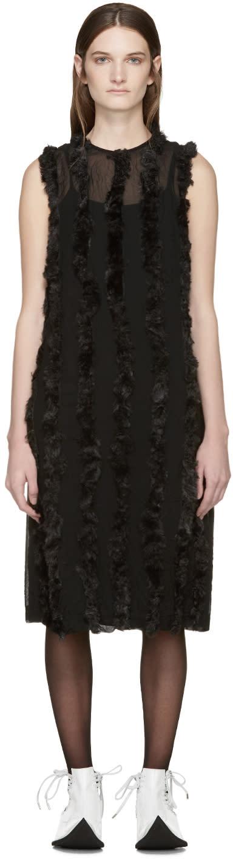 Comme Des Garcons Black Faux-fur Trim Dress