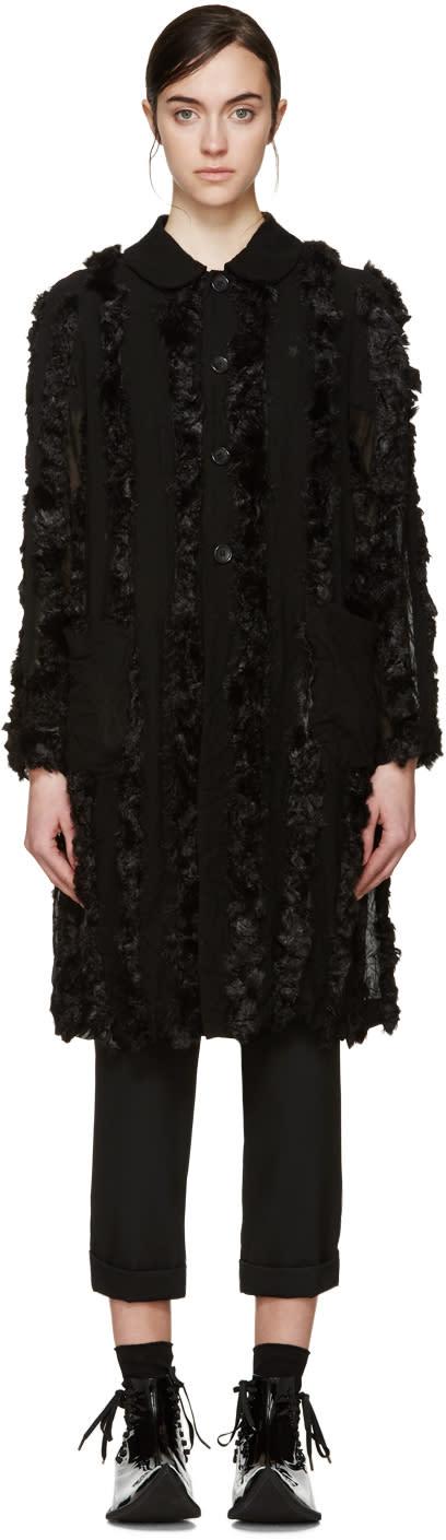 Image of Comme Des Garçons Black Faux-fur Trim Coat