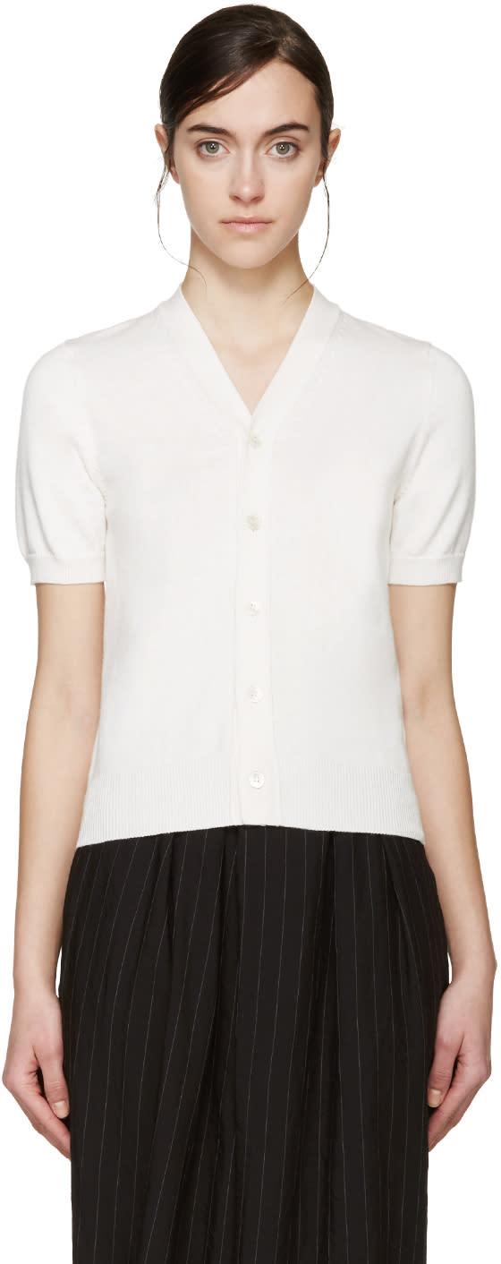 Comme Des Garçons Ivory Short Sleeve Cardigan