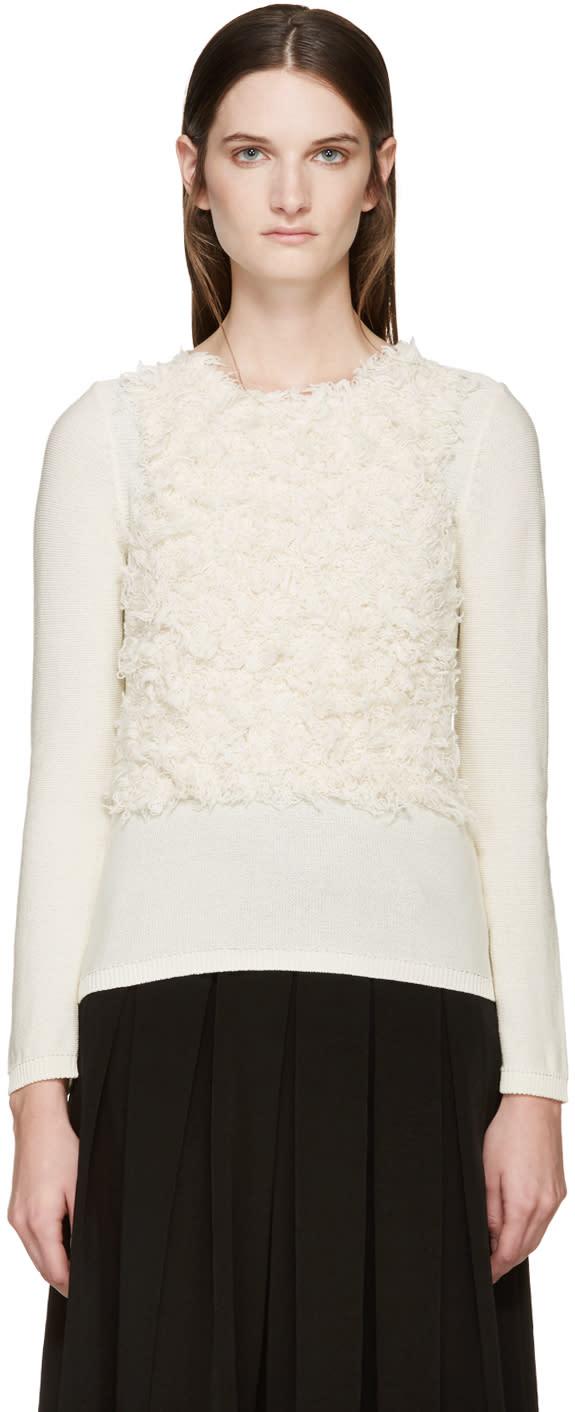 Comme Des Garcons Cream Textured Sweater