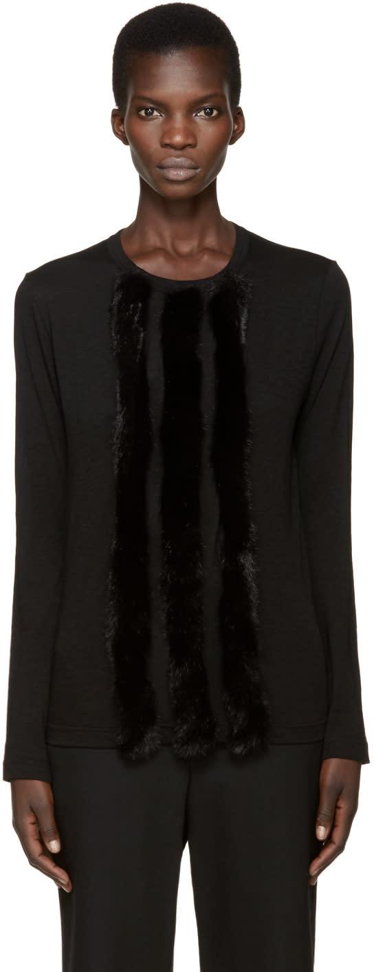 Comme Des Garcons Black Faux-fur Trim T-shirt
