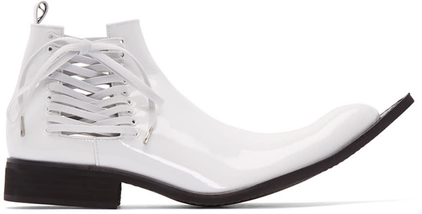 Comme Des Garcons White Patent Leather Pointed Boots