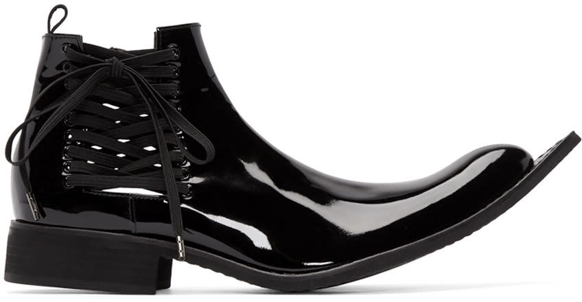 Comme Des Garcons Black Patent Leather Pointed Boots