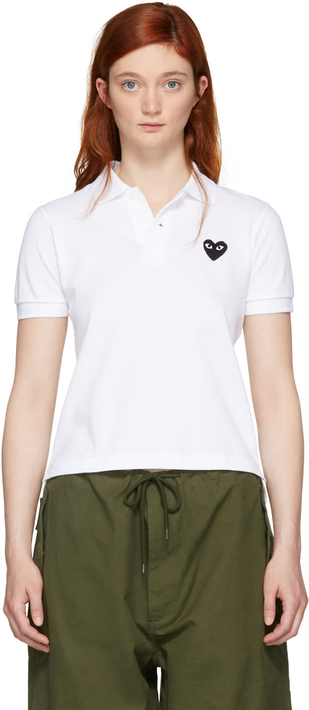 Comme Des Garçons Play White Heart Patch Polo
