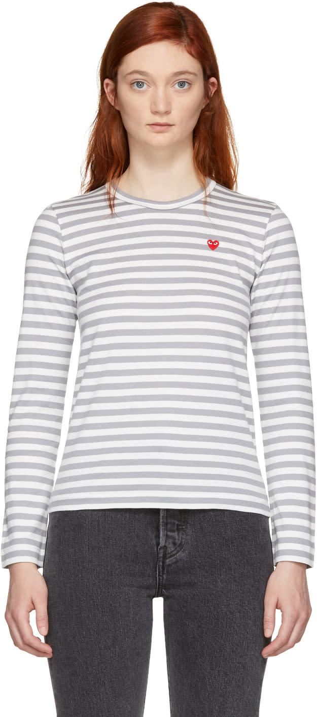 Comme Des Garçons Play White and Grey Striped Heart Patch T-shirt