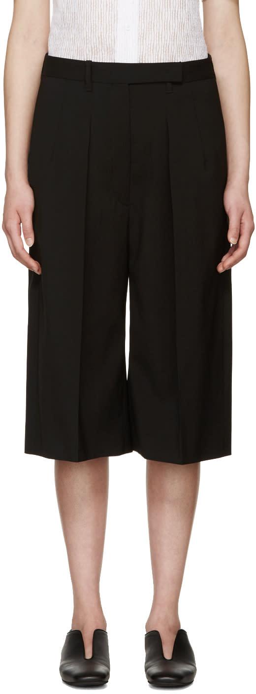 Jil Sander Black Wool Pleated Culottes