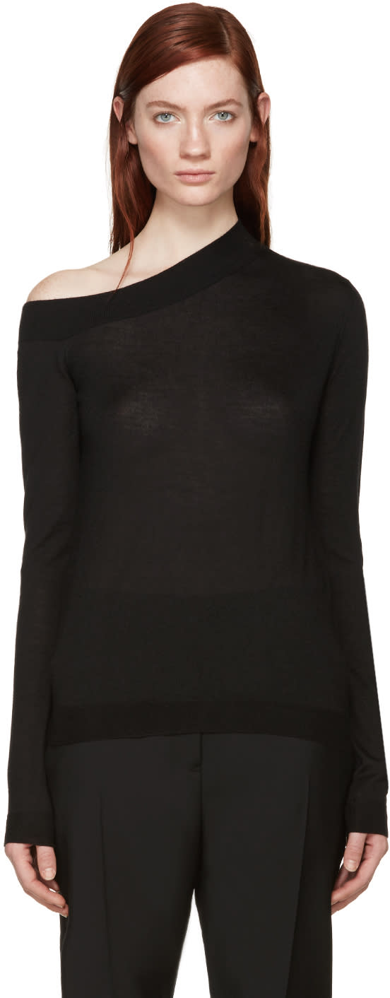 Image of Jil Sander Black Cashmere Off-the-shoulder Sweater