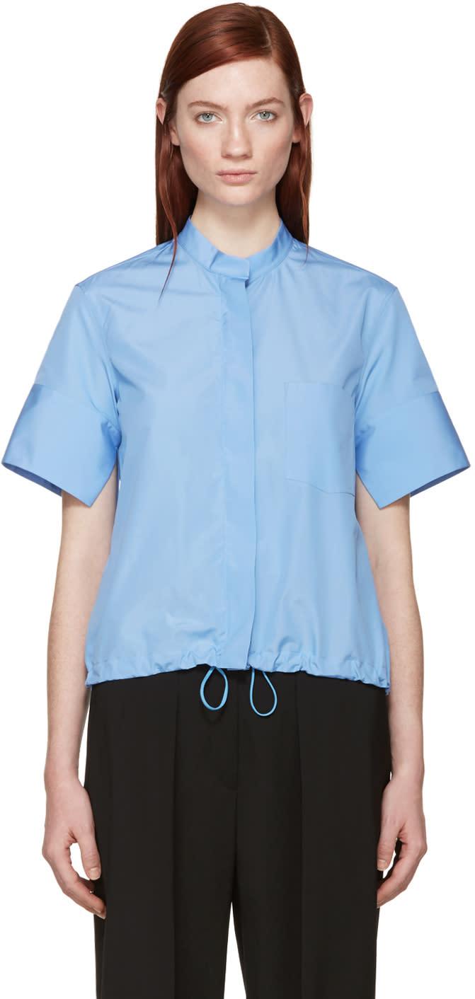 Jil Sander Blue Drawstring Poplin Shirt