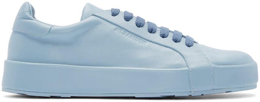 Jil Sander Blue Leather Low-top Sneakers