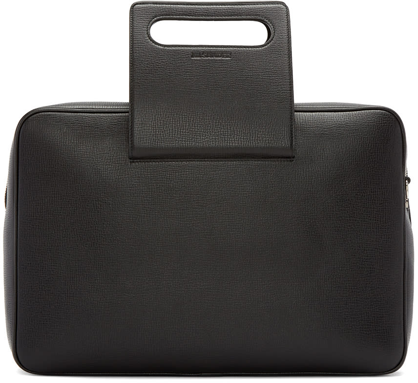Jil Sander Black Grained Leather Briefcase