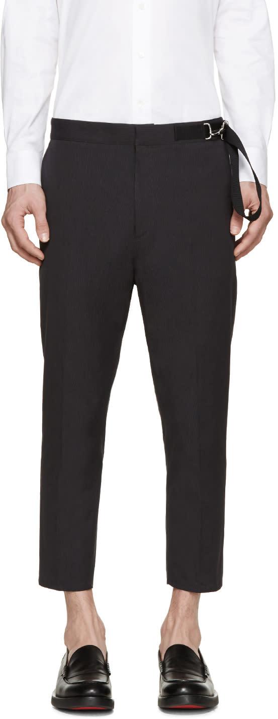 Jil Sander Grey Twill Cinch Belt Trousers