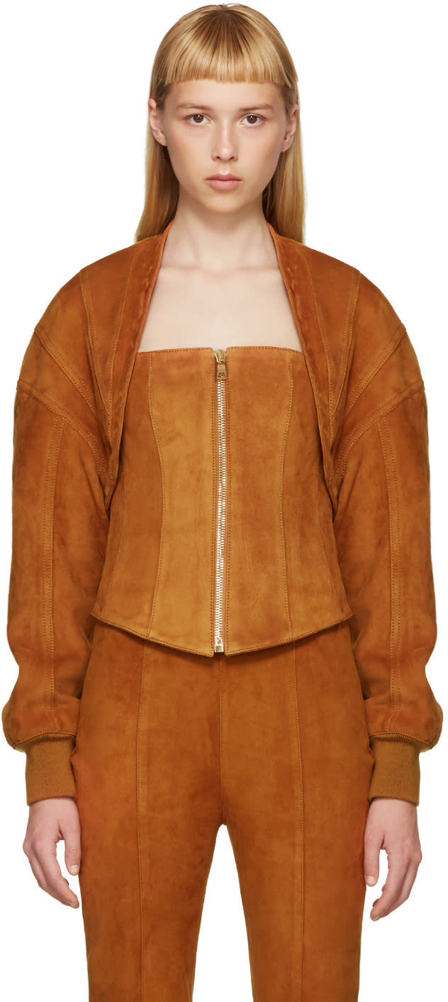 Balmain Brown Suede Two-piece Jacket