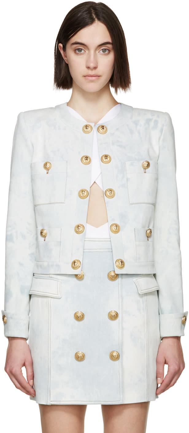 Balmain Blue Denim Gold Buttons Jacket