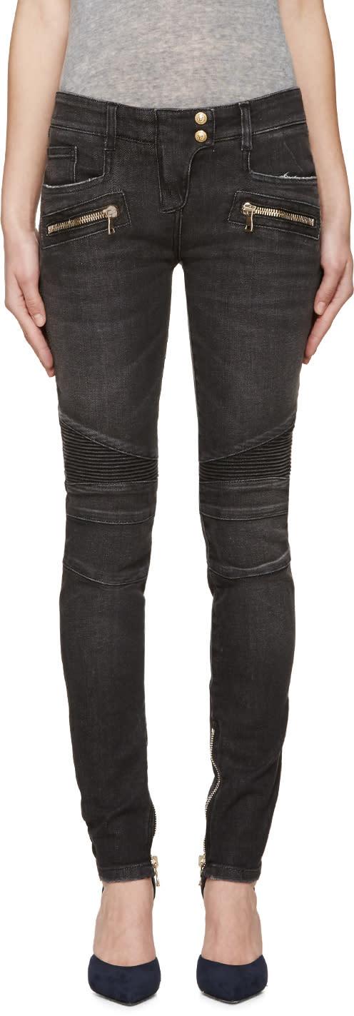 Balmain Black Skinny Biker Jeans