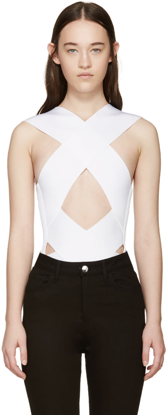 Balmain White Rib Knit Criss-cross Bodysuit
