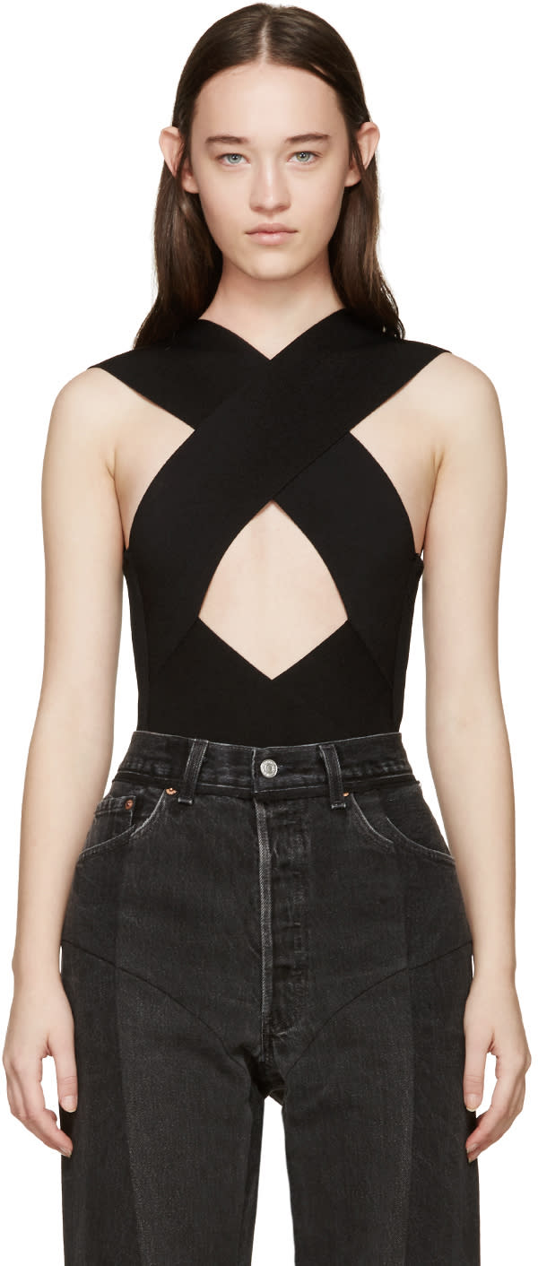 Balmain Black Rib Knit Criss-cross Bodysuit
