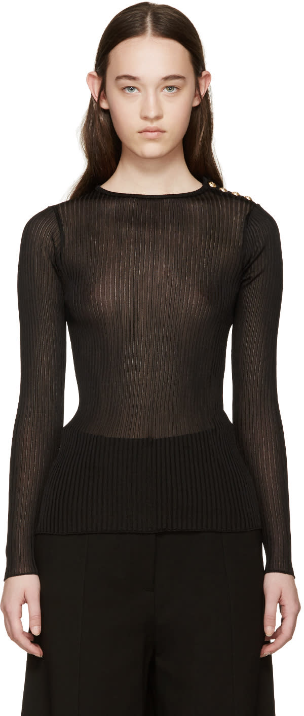 Balmain Black Ribbed Pullover