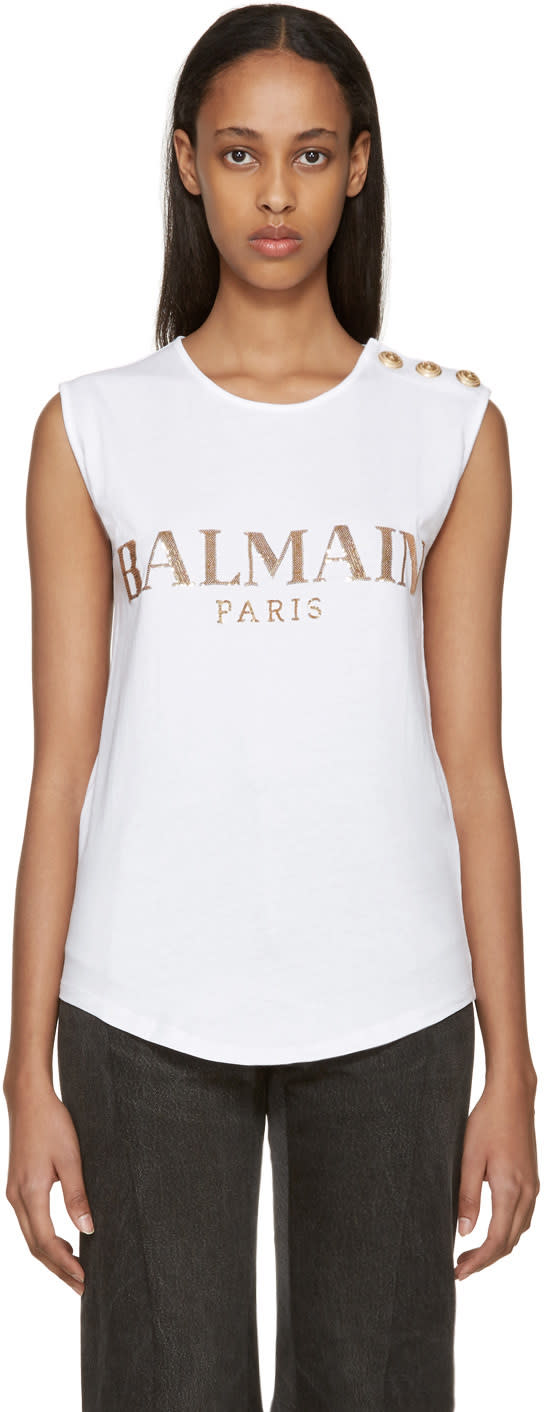 Balmain White Sequin Logo T-shirt